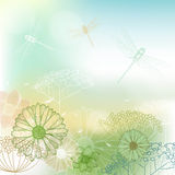 Flower background with dragonfly Stock Image