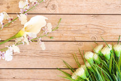 Flower background. Flowers over grunge wooden background Royalty Free Stock Images