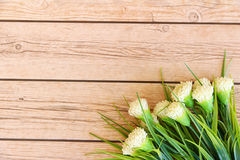 Flower background. Flowers over grunge wooden background Royalty Free Stock Photo