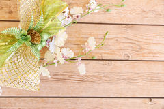 Flower background. Flowers over grunge wooden background Stock Image