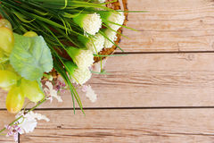Flower background. Flowers over grunge wooden background Stock Photo