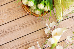 Flower background. Flowers over grunge wooden background Stock Images