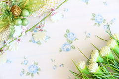 Flower background. Flowers over grunge wooden background Royalty Free Stock Photos