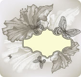 Flower background with frame and hibiscus, vector illustration. Stock Photos