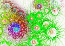 Flower background. Green and violet palette. Flower background. Computer generated graphics Stock Photography