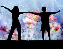 Flower background and happy couple Royalty Free Stock Photography
