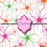 Flower Background with Label. Vector Royalty Free Stock Photo