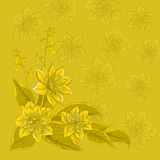 Flower background, narcissuses yellow. Vector background, pattern with flowers and silhouettes narcissuses Stock Photos