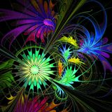 Flower background. Purple and green palette. Fractal design. Stock Image