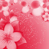 Flower background on red Royalty Free Stock Images