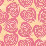 Flower background with rose like heart. Pink art vector heart, rose pattern. Seamless flower background pattern. Fabric texture. Floral vintage design. Pretty Royalty Free Stock Images