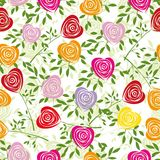 Flower background with rose like heart. Multicoloured art vector heart, rose pattern. Seamless flower background pattern. Fabric texture. Floral vintage design Stock Photo