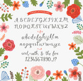 Flower background with a set of handwritten letters. Floral background with a set of handwritten letters Stock Photos