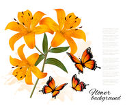 Flower Background With Three Beautiful Lilies and Butterflies. V Royalty Free Stock Photography