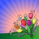 Flower background, tulips. Flower  background, bouquet tulips flowers and sun rays Royalty Free Stock Image