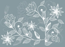 Flower background in vector. Floral seamless backgrounds for design of fabrics and wallpapers in vector Royalty Free Stock Photos