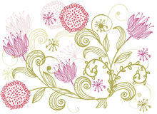 Flower background in vector. Floral seamless backgrounds for design of fabrics and wallpapers in vector Stock Photos