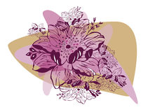 Flower background. Vector graphic card with nice purple flowers and spots Stock Photography