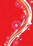 Flower background. Flower wallpaper with stripe pattern Stock Images