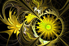 Flower background. Yellow and black palette. Fractal design. Com Royalty Free Stock Image