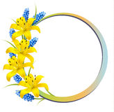 Flower background with yellow lilies and lavender. Royalty Free Stock Photos