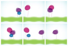 Flower backgrounds. Six Floral backgrounds, vector illustration Stock Photos