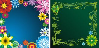 Flower backgrounds. Two floral backgrounds with flower and plants Stock Image