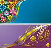 Flower backgrounds. Two decorative compositions with  flower and curves Stock Photo