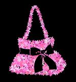 Flower bag. Illustration of a handbag of pink flowers and a big black bow Royalty Free Stock Images