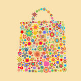 Flower bag. Vector illustration of bag pattern made up of flower shapes Royalty Free Stock Photos