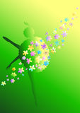 Flower ballerina. Silhouette of a ballerina and flowers on a green background Royalty Free Stock Image