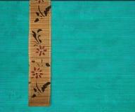 Flower bamboo banner on aquamarine Royalty Free Stock Photos