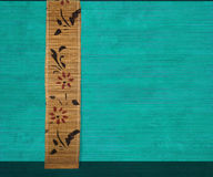 Flower bamboo banner on aquamarine wood Stock Image