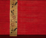 Flower bamboo banner on red background Stock Photos