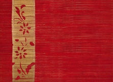 Flower bamboo banner on red wood. Flower bamboo banner on red ribbed wood background stock photo