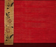 Flower bamboo banner on red wood background 2 Royalty Free Stock Photos