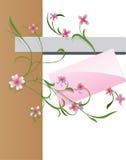 Flower banner. Pink greetings card for girl hanging on flower stalk Stock Photography