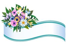 Flower banner. Decorative banner with bouquet of flowers Stock Photos