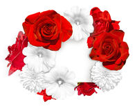 Flower banner. Bright red roses and white mallow, rudbeckia flower on white background Stock Photos