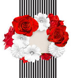 Flower banner. Bright red roses and white mallow, rudbeckia flower on the white black striped background. Royalty Free Stock Image