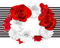 Flower banner. Bright red roses and white mallow, rudbeckia flower on the white black striped background. Royalty Free Stock Images