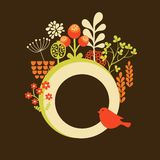 Flower banner with cute little bird. Royalty Free Stock Photo