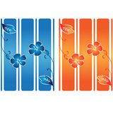 Flower banner over lines. Colorful flower banner over lines Stock Photo