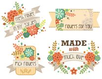 Flower Banner set. A flower banner for text royalty free illustration
