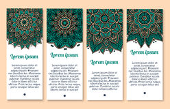 Flower banner template with mandala floral pattern Stock Photography