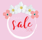 Flower banner with text summer sale on pink background with beautiful flowers. Artistic design vector banners, greeting Stock Photo