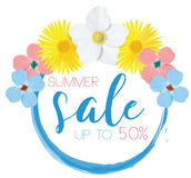 Flower banner with text summer sale on white background with beautiful flowers. Artistic design vector banners, greeting Royalty Free Stock Photos