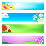 Flower banners. Blossoming flower banner or header 4-color backgrounds set Stock Photo