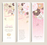 Flower banners. Set of banners design with beautiful florals Stock Images