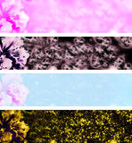 4 flower banners Royalty Free Stock Photography
